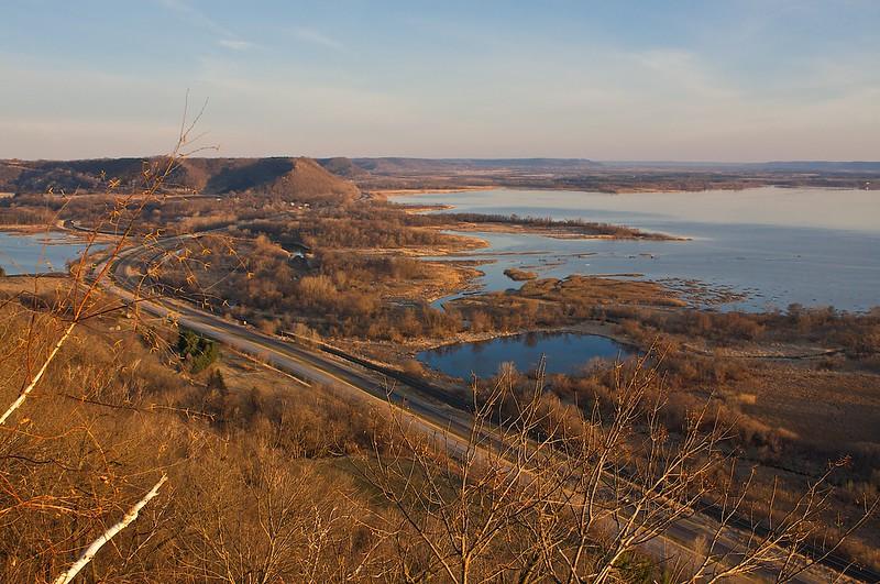 Weaver Bottoms Mississippi River valley at sunrise.