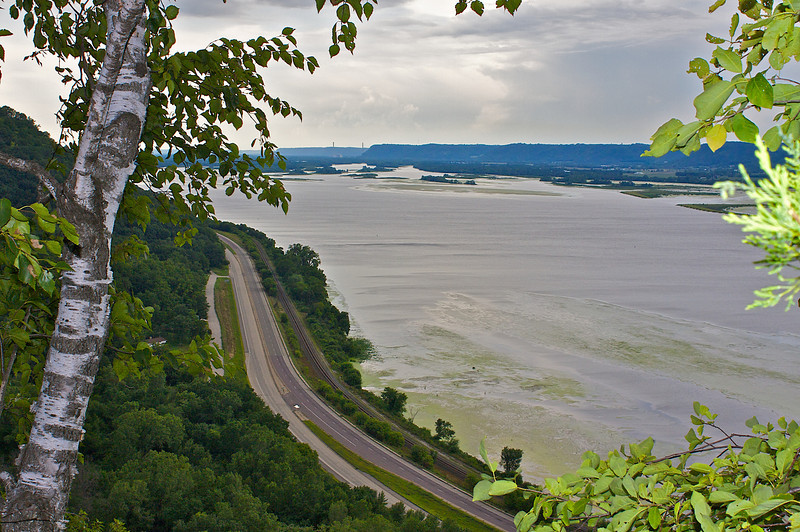 Mississippi River Highway 61 from John A Latsch State Park Minnesota.