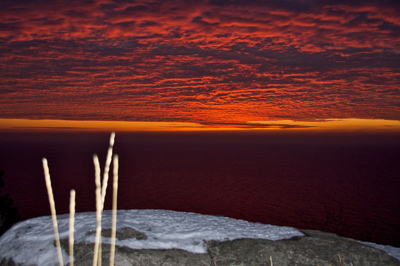 A light show! Overlooking Lake Superior. This is sunrise from the highest point in Split Rock Lighthouse State Park MN. I camped down below, leaving my tent by cross country ski 90 minutes before sunrise.
