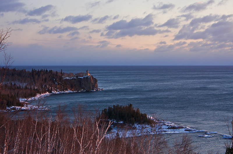 Split Rock Lighthouse from Day Hill at sunrise February first 2009.