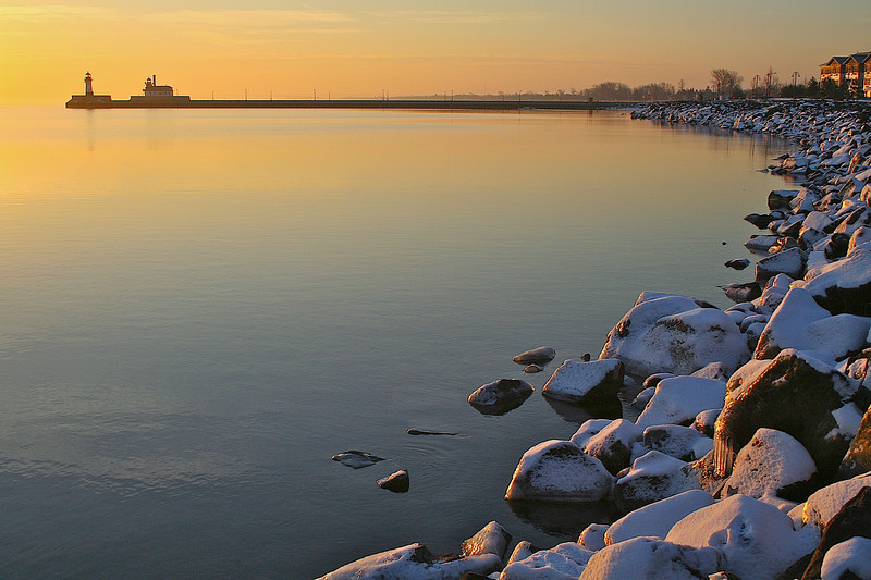 Duluth harbor entrance sunrise.