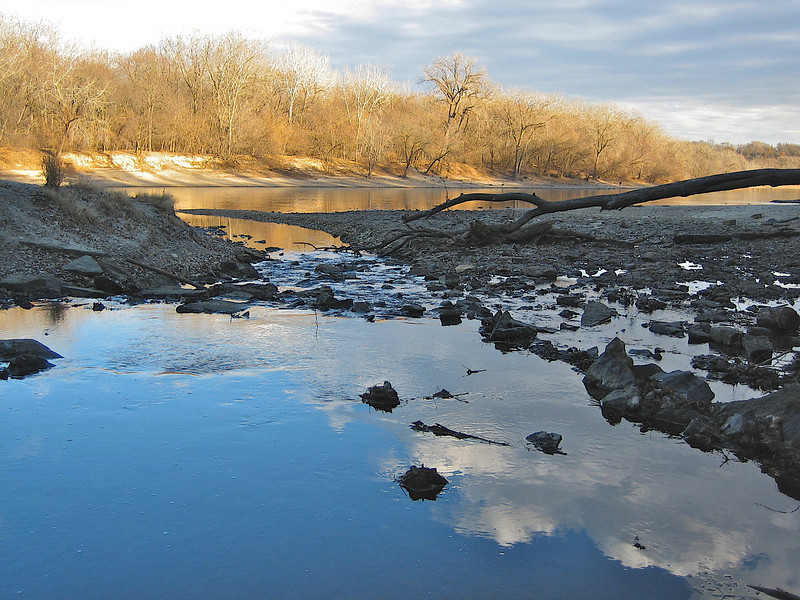 Minnehaha Creek flowing into the Mississippi.