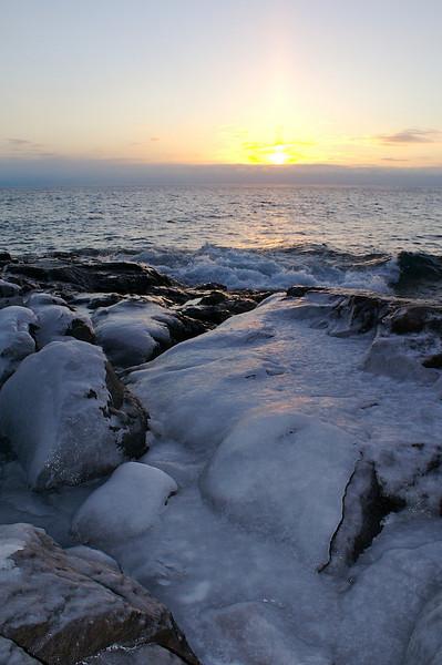 Sunrise Lake Superior. Snow maker up and running.