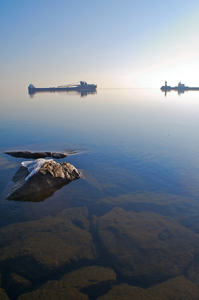 Slipping out onto Lake Superior.