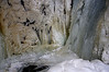 In the Gorge at the base of Hidden Falls. The sound and feel of the water and ice deep in this gorge is awe-inspiring.