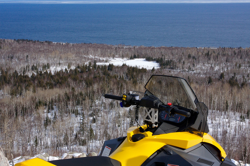 Carlton Peak.. Temperance River State Park Minnesota.. Snowmobiling lake Superior.