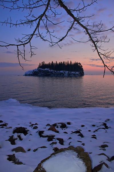 Little Two Harbors at sunset Split Rock Lighthouse State Park Minnesota.