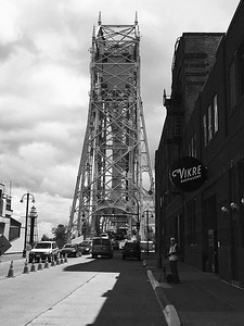 Aerial Bridge Vikre Distilery in Black and White