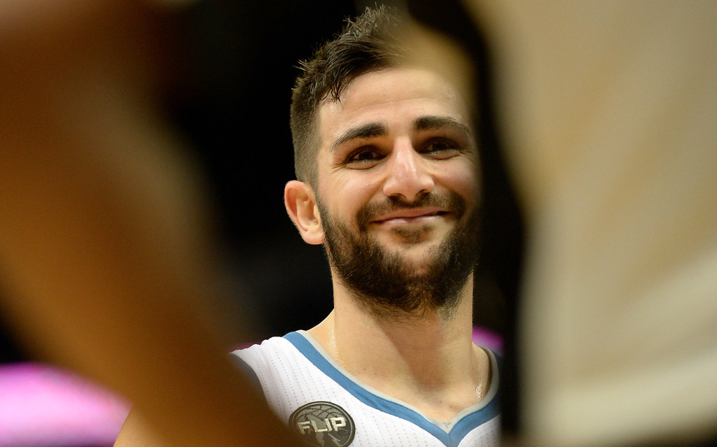 . Minnesota Timberwolves guard Ricky Rubio smiles at referee Tony Brown in the third quarter at the Target Center on Saturday, January 23, 2016. The Timberwolves beat the Memphis Grizzlies, 106-101. (Pioneer Press: John Autey)
