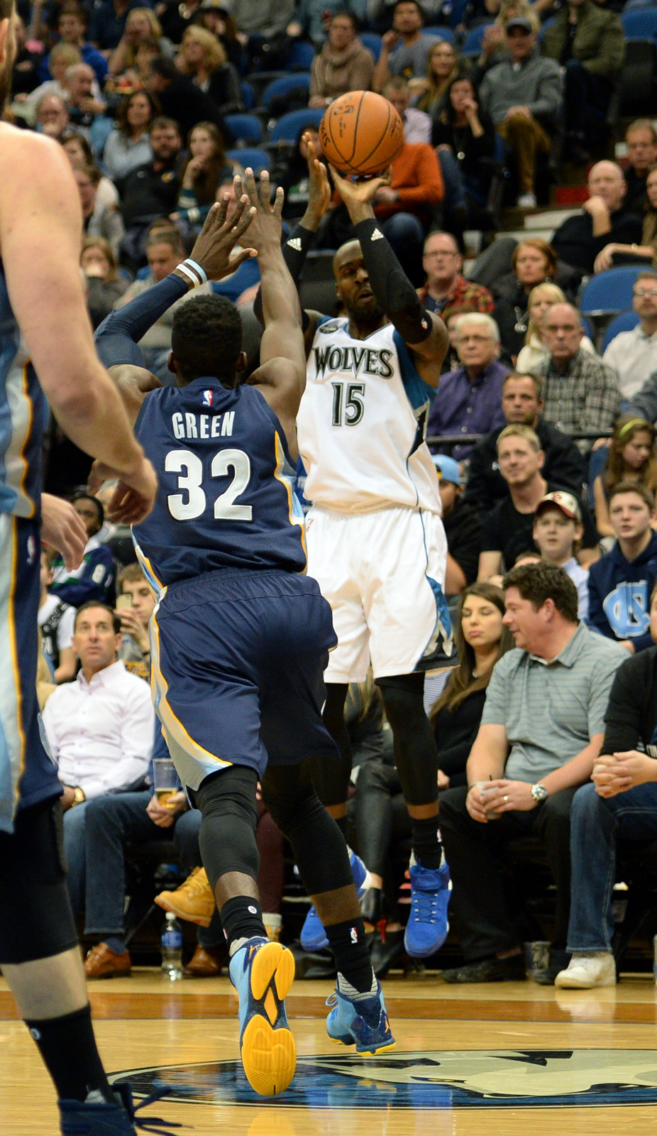 . Minnesota Timberwolves forward Shabazz Muhammad fires a three against the Memphis Grizzlies in the third quarter at the Target Center on Saturday, January 23, 2016. The Timberwolves beat the Memphis Grizzlies, 106-101. (Pioneer Press: John Autey)