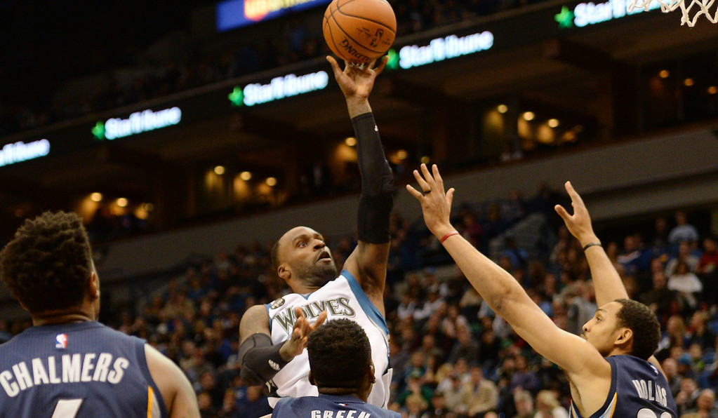 . Minnesota Timberwolves forward Shabazz Muhammad scores two of his 25 against the Memphis Grizzlies in the third quarter at the Target Center on Saturday, January 23, 2016. The Timberwolves beat the Memphis Grizzlies, 106-101. (Pioneer Press: John Autey)