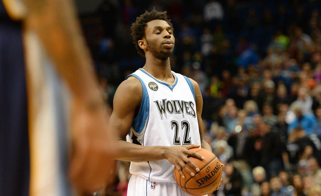. Minnesota Timberwolves guard Andrew Wiggins takes a breath before sinking a free throw that put the game out of reach for Memphis late in the fourth quarter at the Target Center on Saturday, January 23, 2016. The Timberwolves beat the Memphis Grizzlies, 106-101. (Pioneer Press: John Autey)