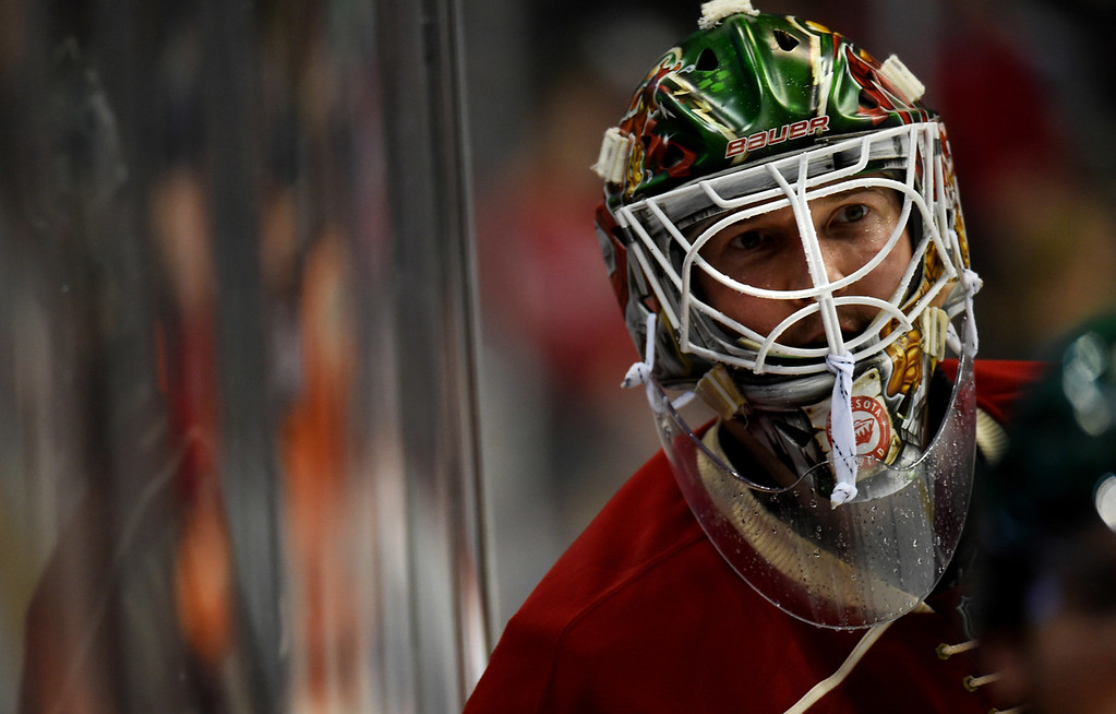 . Minnesota Wild goalie Devan Dubnyk during a time out against the Philadelphia Flyers in the third period at Xcel Energy Center on Thursday, January 7, 2015. The Philadelphia Flyers beat the Wild, 4-3, in overtime. (Pioneer Press: John Autey)