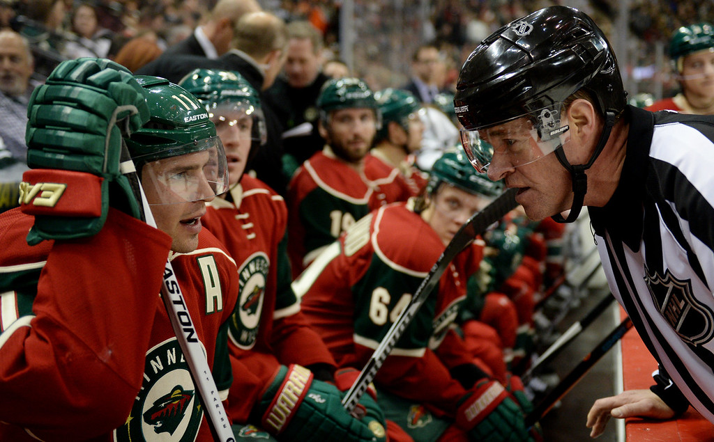 . Minnesota Wild left wing Zach Parise talks to referee Dave Jackson during a time out against the Philadelphia Flyers in the third period at Xcel Energy Center on Thursday, January 7, 2015. The Philadelphia Flyers beat the Wild, 4-3, in overtime. (Pioneer Press: John Autey)