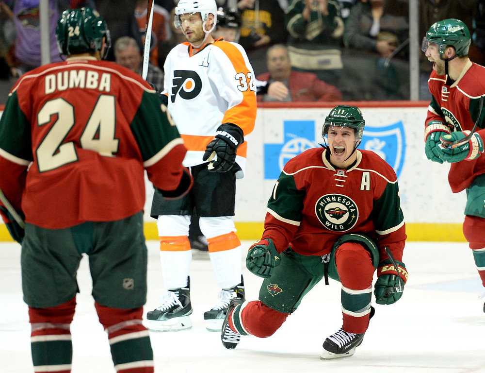 . Minnesota Wild left wing Zach Parise celebrates his single handed goal against the Philadelphia Flyers in the third period at Xcel Energy Center on Thursday, January 7, 2015. The Philadelphia Flyers beat the Wild, 4-3, in overtime. (Pioneer Press: John Autey)