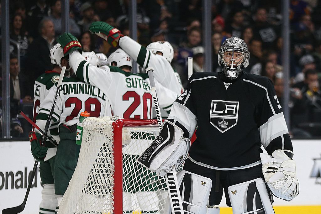 . Minnesota Wild players celebrate after Zach Parise scored a second-period goal against Los Angeles Kings goalie Jonathan Quick at Staples Center in Los Angeles on Thursday, Jan. 21, 2016. (Robert Gauthier/Los Angeles Times/TNS)