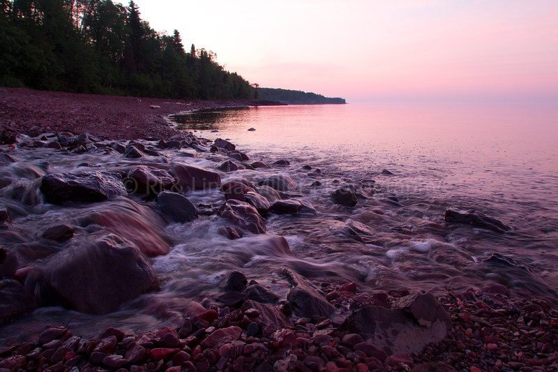 Cook County, MN, Durfee Creek Flowing Into Lake Superior, Small Waterfall