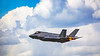 The Lockheed Martin F-35A fighter jet in flight at the 2017 Airshow in Duluth, Minnesota, USA.