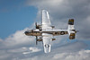 The Boeing B-25J Miss Mitchell vintage bomber in flight at the 2017 Airshow in Duluth, Minnesota, USA.