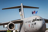 The Boeing C-17 Globemaster transport plane in static ground display at the 2017 Airshow at Duluth, Minnesota, USA.