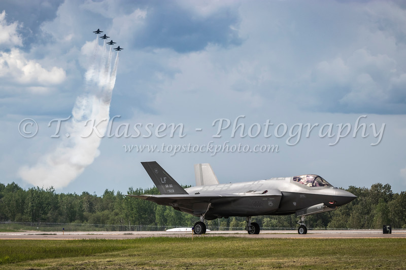A Lock Martin F-35A fighter jet being prepared for takeoff at the 2017 Airshow at Duluth, Minnesota, USA.