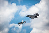 A Heritage Flight demonstration with a P-51 Mustang and  the F-35A fighter jet at the 2017 Airshow in Duluth, Minnesota, USA.