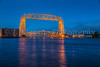 The Aerial Lift bridge illuminated at night in Duluth, Minnesota, USA.