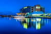 The Pier B Resort with reflections in Duluth, Minnesota, USA