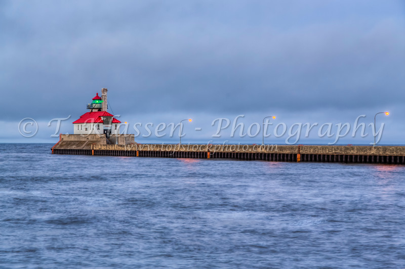 The Duluth Harbor South Breakwater Outer Lighthouse in Duluth, Minnesota, USA.