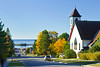 The town of Grand Marais with a church on the north shore of Lake Superior, Minnesota, USA.