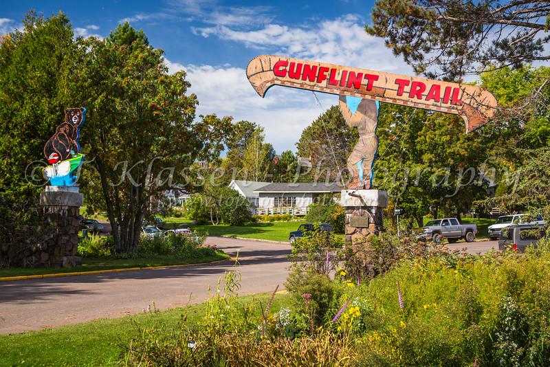 The entrance to the Gunflint Trail in Grand Marais, Minnesota, USA.