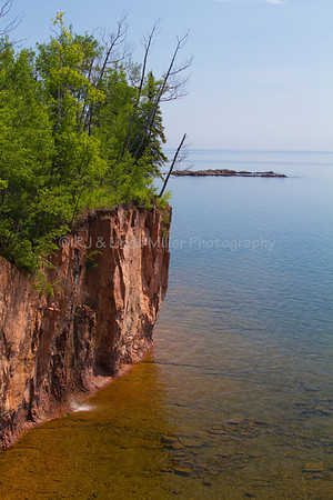 Lake County, MN, Small Waterfall  Falling Off Cliff into Lake Superior