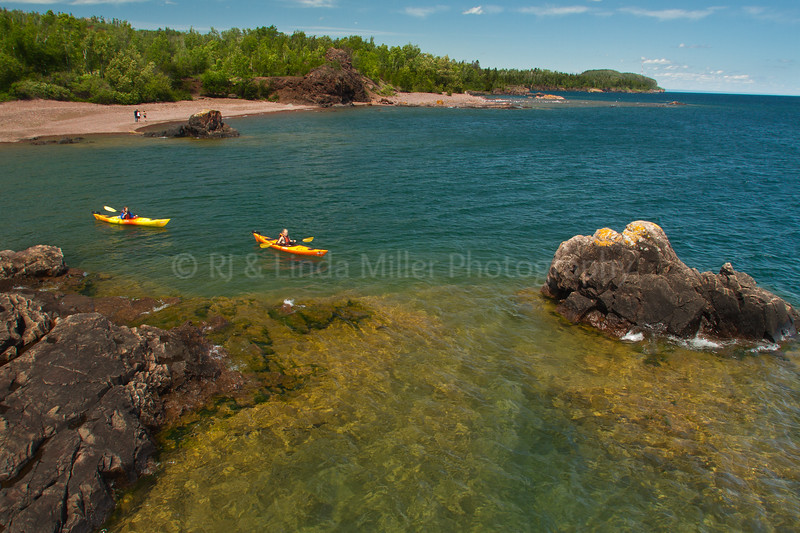 Girls Paddling Along Lake Superior Shore, Lake Superior, Lake County, Minnesota