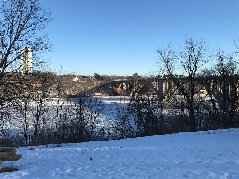 Frozen Mississippi river in Minneapolis