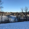 Frozen Mississippi river in Minneapolis