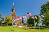 Eksjo Luthern Church with American flags in Lake Park Minnesota, USA.