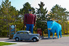 Paul Bunyan and his ox Blue in Bemidji, Minnesota, USA.