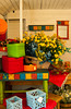 Colorful pottery displayed for sale at the Summerhill Farms near Park Rapids, Minnesota, USA, America.