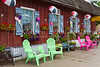 An ice cream parlor with colorful chairs on the Main street of Perham, Minnesota, USA.