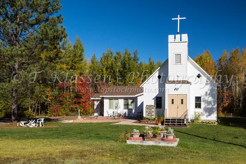 The Bassett Congregational Church near Brimson, Minnesota, USA.