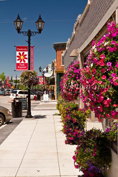 Main street downtown Park Rapids, Minnesota, USA.