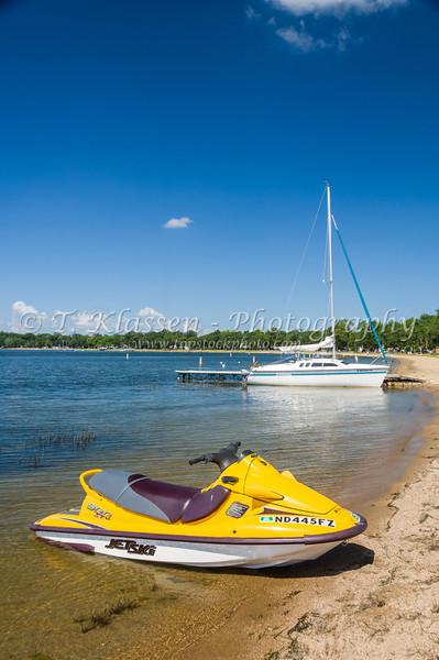 Jet skis at Detroit Lakes, Minnesota, USA.