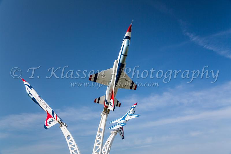 Three USAF T38 jets monument near Owatonna, Minnesota, USA.