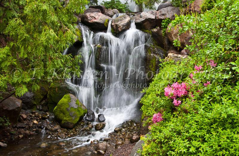 A decorative waterfall with azalea flowers blooming at the Minnesota Landscape Arboretum in Chaska, Minnesota, USA, America.
