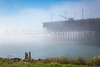 Iron ore docks and loading facility in the fog at Two Harbors, Minnesota, USA.