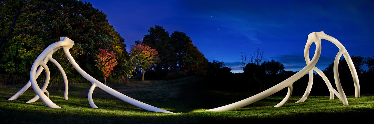 This is one Steelroots Scupture photographed from the front and back, then blended into one image--Note images were lit by hand held spotlight during a 30 second time exposure-Arb-2045