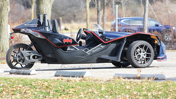 Polaris Slingshot in Bat Mobile Trim at Moraine Hills State Park