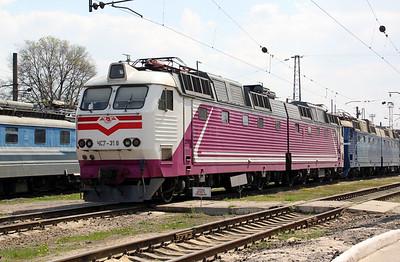 ChS7 318 at Kharkov October Depot on 2nd May 2010 (2)