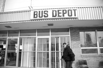 Minor James Miller Jr. walks into the Bus Depot in Mattoon, Illinois on March 3, 2009. (Jay Grabiec)