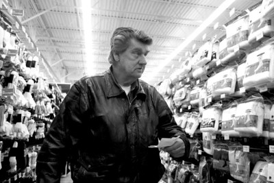 Miner James Miller Jr. shops for socks at Wal-Mart in Mattoon, Illinois on Thursday, January 8, 2009 after receiving his social security check.   (Jay Grabiec)